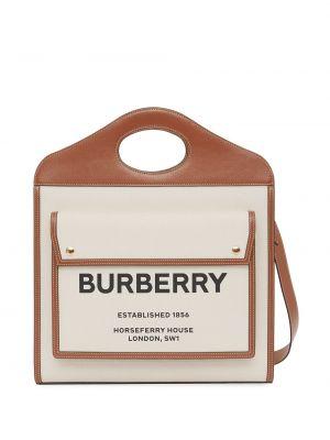 Skórzany brązowy torba na ramię z łatami z kieszeniami Burberry