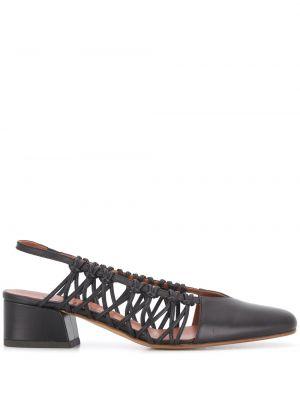 Черные туфли-лодочки с квадратным носком квадратные из натуральной кожи Michel Vivien