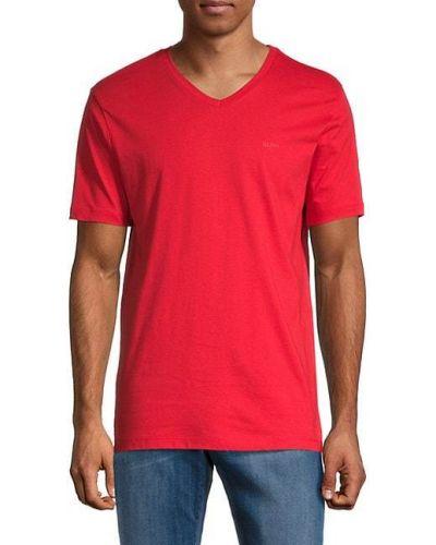 Хлопковая футболка с V-образным вырезом с короткими рукавами Boss Hugo Boss