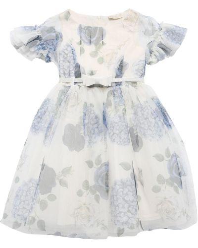 Платье в цветочный принт - белое Monnalisa