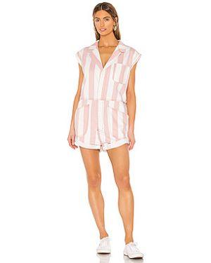 Текстильный розовый комбинезон на пуговицах с карманами One Teaspoon