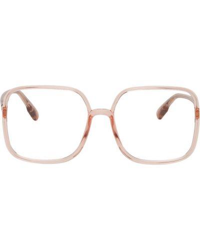 Кожаные розовые очки для зрения квадратные Dior