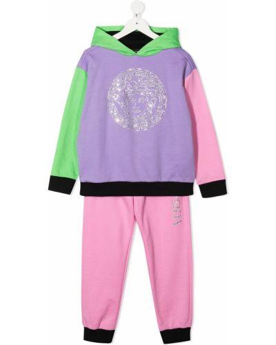 Klasyczny różowy dres bawełniany Versace Kids