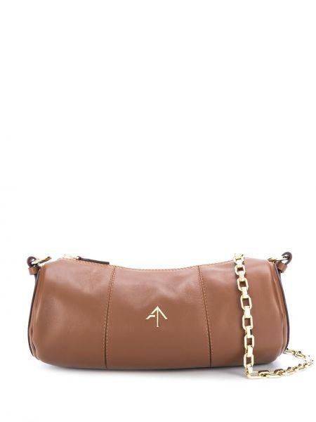 Кожаная коричневая сумка на плечо на молнии Manu Atelier