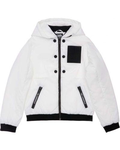 Prążkowana biała kurtka z nylonu Karl Lagerfeld