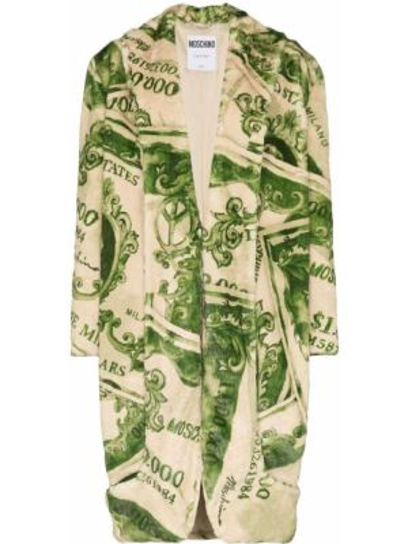 Зеленое длинное пальто с капюшоном с лацканами Moschino