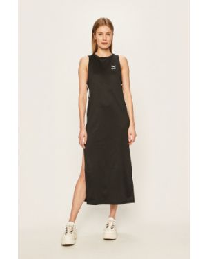 Czarna sukienka midi dzianinowa na co dzień Puma