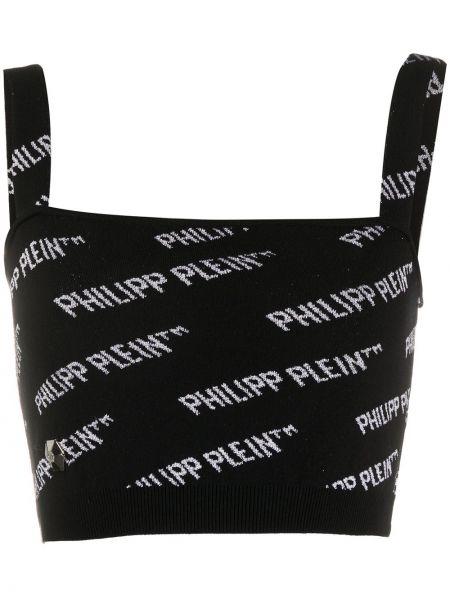 Черный топ с вырезом квадратный Philipp Plein