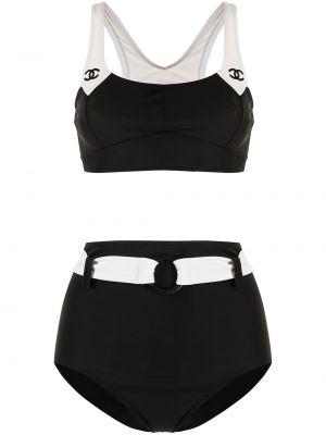 Черный бикини с вырезом винтажный Chanel Pre-owned