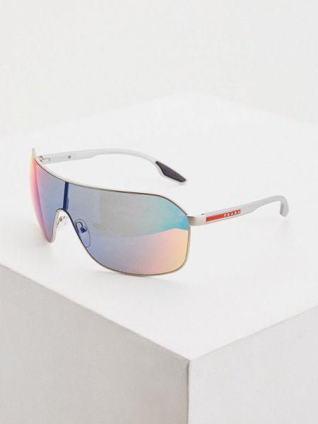 Серые спортивные солнцезащитные очки с завязками Prada Linea Rossa