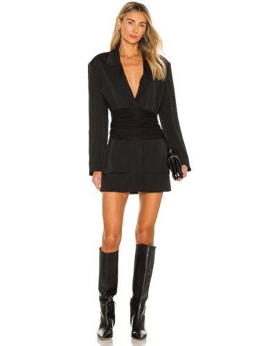 Czarny włókienniczy sukienka mini z kieszeniami zapinane na guziki L'academie