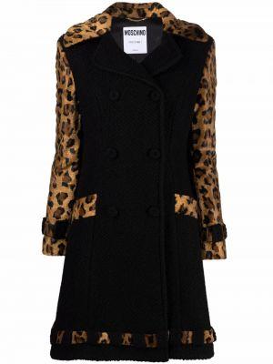 Черное пальто букле двубортное Moschino