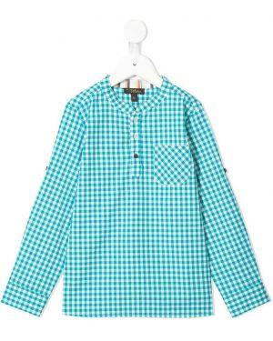 Niebieska koszula bawełniana z haftem Velveteen