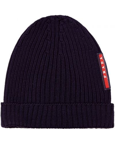 Вязаная шапка бини с отворотом Prada