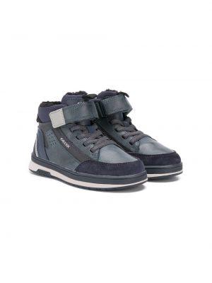 Синие кожаные высокие кроссовки на шнурках Geox Kids