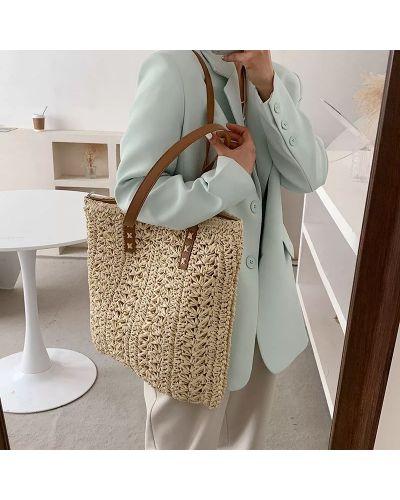 Плетеная пляжная сумка с ручками на молнии Oxa