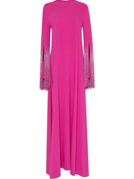 Розовое шелковое платье макси с бахромой Oscar De La Renta