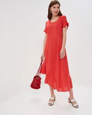 Летнее платье коралловый красный Dizzyway