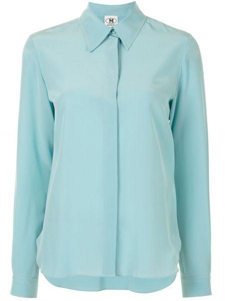 Niebieska koszula z długimi rękawami z jedwabiu M Missoni