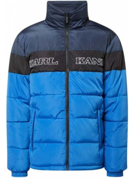 Niebieski pikowana kurtka z mankietami z kieszeniami z zamkiem błyskawicznym Karl Kani