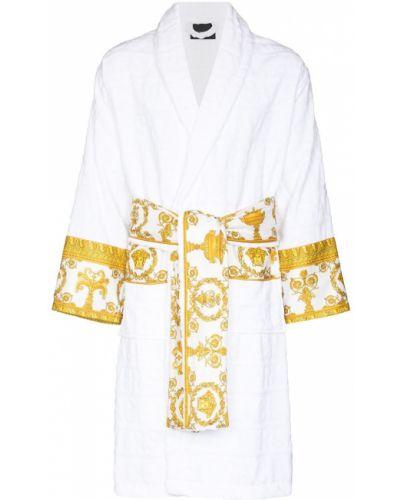 Szlafrok bawełniany - biały Versace