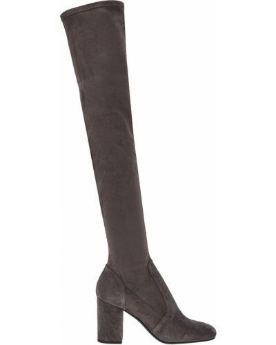 Ботфорты на каблуке серые кожаные Lola Cruz
