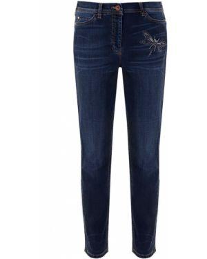Зауженные джинсы-скинни с аппликациями с карманами на пуговицах Ppep