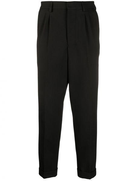 Czarne spodnie wełniane z paskiem Ami