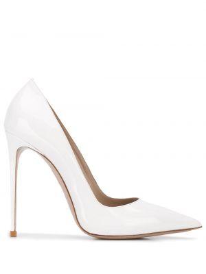 Кожаные белые лаковые туфли-лодочки без застежки Le Silla