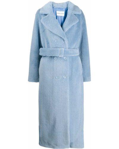 Синее длинное пальто с капюшоном Stand