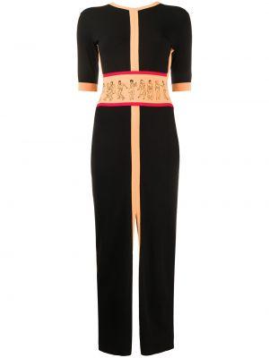 Prążkowana czarna sukienka mini krótki rękaw Kirin