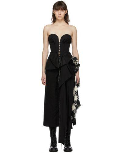 Асимметричное черное ажурное бюстье с декольте Yohji Yamamoto