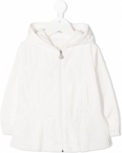 Белое пальто классическое с капюшоном на молнии Moncler Kids