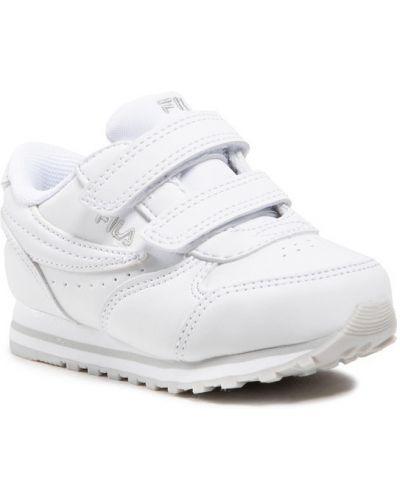 Białe sneakersy na rzepy Fila