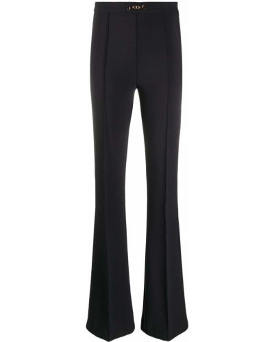 Черные расклешенные брюки со складками на молнии Elisabetta Franchi