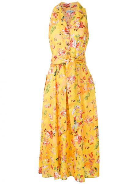 Льняное прямое желтое платье Isolda
