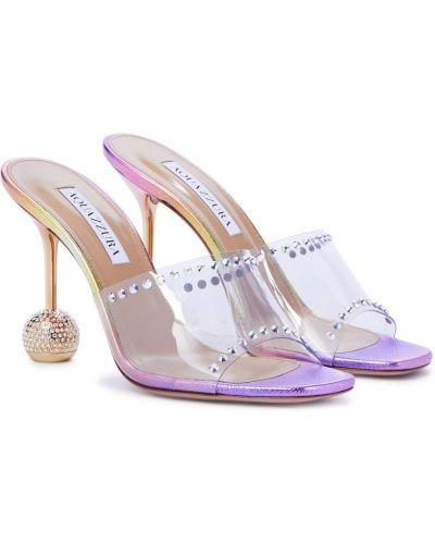 Фиолетовые кожаные сандалии Aquazzura