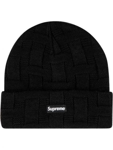 Trykotowy kapelusz z logo czarny Supreme