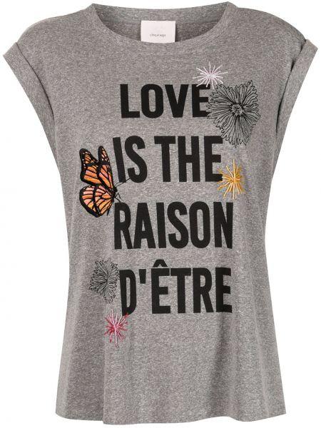 Прямая серая футболка с надписью Cinq À Sept