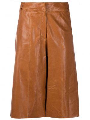 Кожаные коричневые укороченные брюки с карманами с высокой посадкой Arma