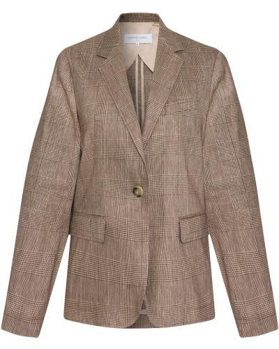 Коричневый пиджак в клетку из вискозы Gerard Darel