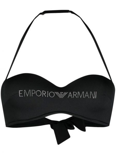 Пляжный черный лиф бандо с завязками Emporio Armani