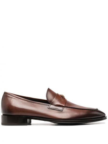 Markowe brązowy skórzany loafers Roberto Cavalli