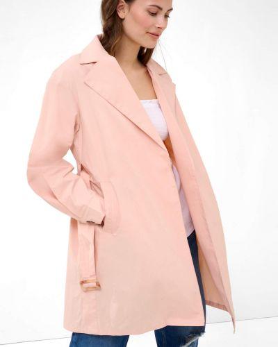 Różowy trencz bawełniany z paskiem Orsay