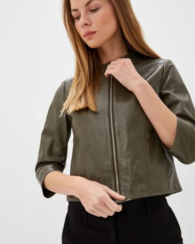 Кожаная куртка осенняя зеленая Max&co