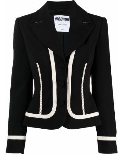 Шелковый однобортный черный удлиненный пиджак Moschino