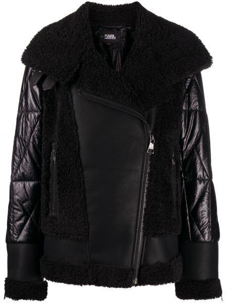 Черная стеганая куртка из искусственного меха Karl Lagerfeld