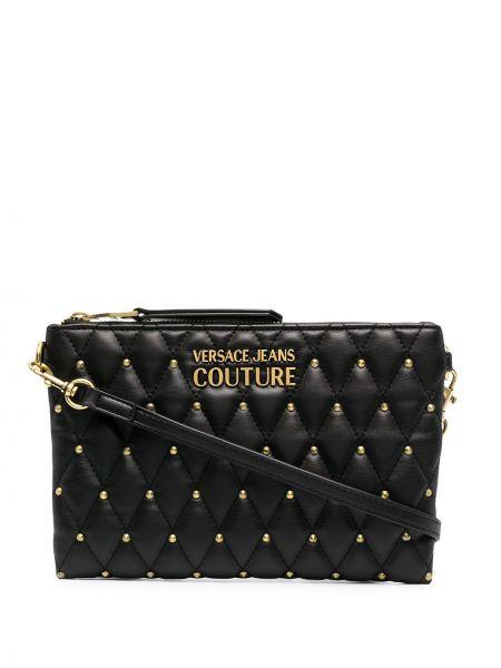 С ремешком золотистый черный клатч Versace Jeans Couture