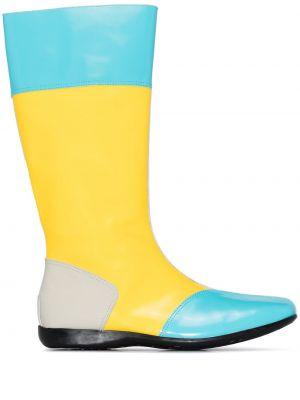Синие лаковые кожаные кожаные ботинки на молнии Camper Lab