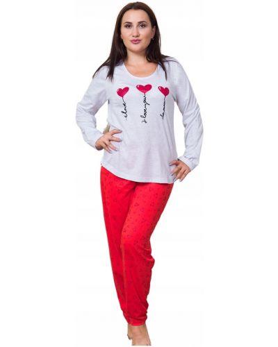 Czerwona piżama bawełniana z długimi rękawami Vienetta